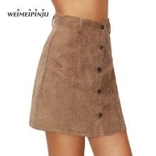 Sexy Mini Skirts 2017 New Arrivals Summer Fashion Khaki Corduroy Single-Button Fly A-Line European Style Ribbed  Ladies Skirts