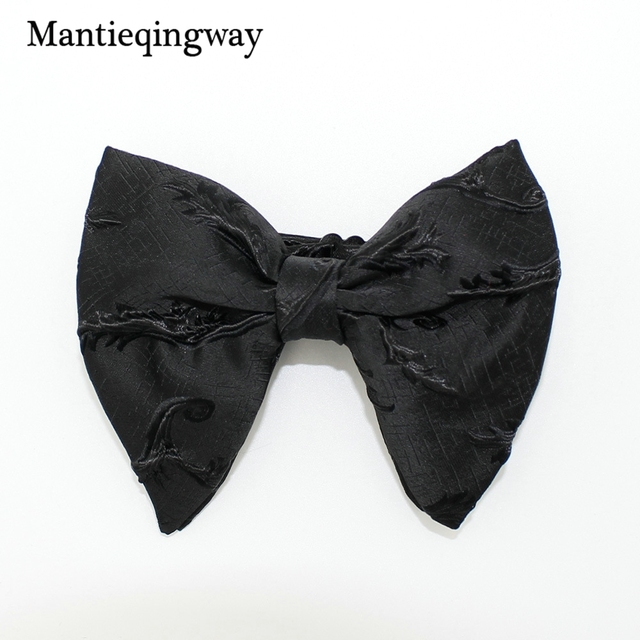 31ed332cb3c5 Mantieqingway Fashion Big Bowties for Women Mens Groom Wedding Bow Tie  Polyester Bowtie Gravatas Slim Black Cravat Neck Ties