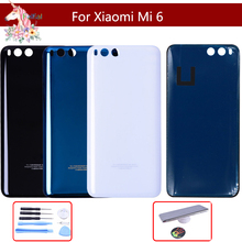 10pcs/lot 3D Glass For Xiaomi Mi 6 mi6 Back Battery Cover Rear Door Housing Case mi Panel Replacement With Logo