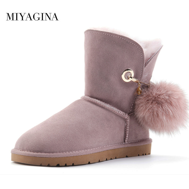 Free shipping! Classic Natural fur Wool real cowhide leather snow boots for women winter shoes High Quality free shipping classic natural fur real wool genuine sheepskin leather snow boots for women winter shoes high quality page 2