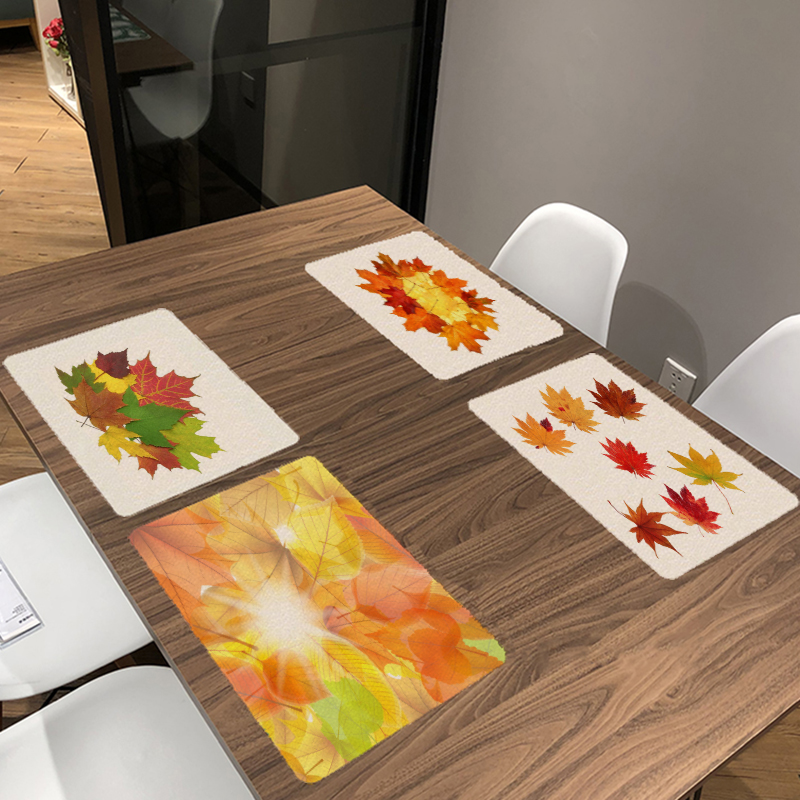 Golden Autumn Colourful Deciduous Leaves Printed Table Napkin For Wedding Set Bowl Dining Mats Kids Table Set Botany Decoration