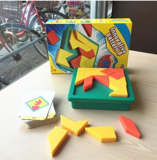 Educational toys Tangram Plastic jigsaw puzzle pieces Tangram board game logic for kid Children Brain Teaser juguetes educativos
