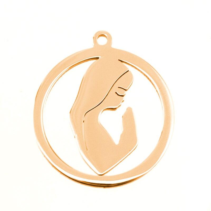 100% Acero inoxidable plata/oro rosa Color Virgen María medalla colgantes Medallas Religiosas al por mayor 50 piezas-in Colgantes from Joyería y accesorios    1