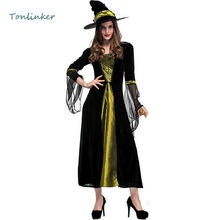Halloween Witch Black Costumes Costume  Women Adult Gothic Long Dress+Hat Carnival Masquerade Cosplay Clothing цена