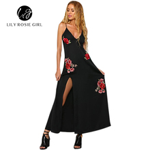 Elegant Satin Floral Embroidery Slip Autumn Dress V Neck Backless Women Party Maxi Dresses Sexy Long Side Split Club Vestidos