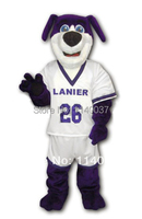 mascot High Quality Promotion Custom Purple Dog Mascot Costume Adult Size Purple Athlete Dog Mascot Outfit Suit Dog Costume
