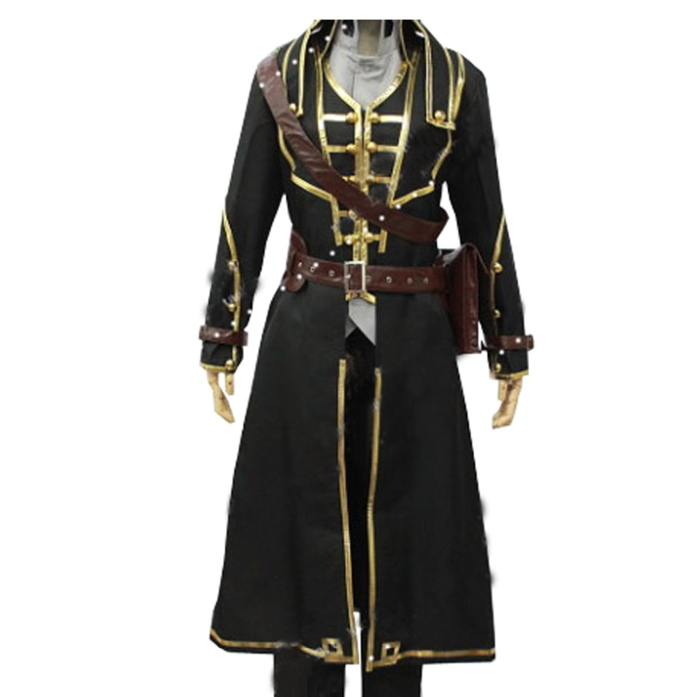 2017 Dishonored Corvo Attano Set Uniform Adult Black Cape Jacket Pants Outfit Anime Halloween Cosplay Costumes For Men Custom Ma
