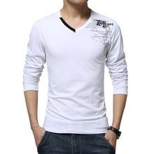 Camiseta de manga larga de nueva moda 2016 imprimir hombres de la primavera ropa de la marca Casual algodón delgado cuello en v T Shirt Homme camisetas M-5XL(China (Mainland))