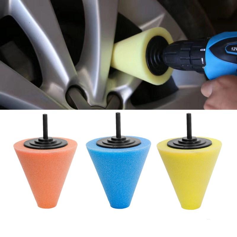 1 Pcs Car Polishing Sponge Conical Shape Wheel Hub Tool Auto Burnishing Foam Disc For Car Cleanning Buffing Pads Accessories