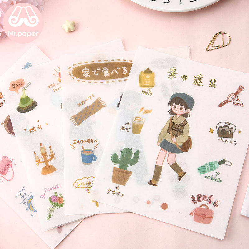 Mr.paper 8 Designs 8Pcs/lot Japanese Kawaii Envelope Deco Stickers Scrapbooking Bullet Journal Popular Deco Stationery Stickers