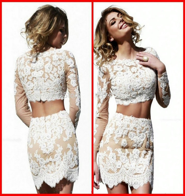 16841c5f259 Sexy White Lace Cocktail Dress Elegant Cocktail Dresses Long Sleeve  Homecoming Dress 2 Pieces Short Tight Homecoming Dress