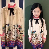Girls Long Sleeve Dress Animals Rabbit Pattern Printing Cute Girls Princess Party Dresses Kids Dresses For Girls