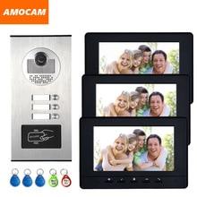 """3 Einheiten Wohnung sprechanlage Video-türsprechanlage Türsprechanlage HD Kamera 7 """"Monitor video Türklingel 5-RFID Karte für 3 Haushalt"""