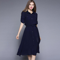 European American Style Women Midi Dress Fashion Sexy Elastic Waist Turn Down Collar High Waist Dress