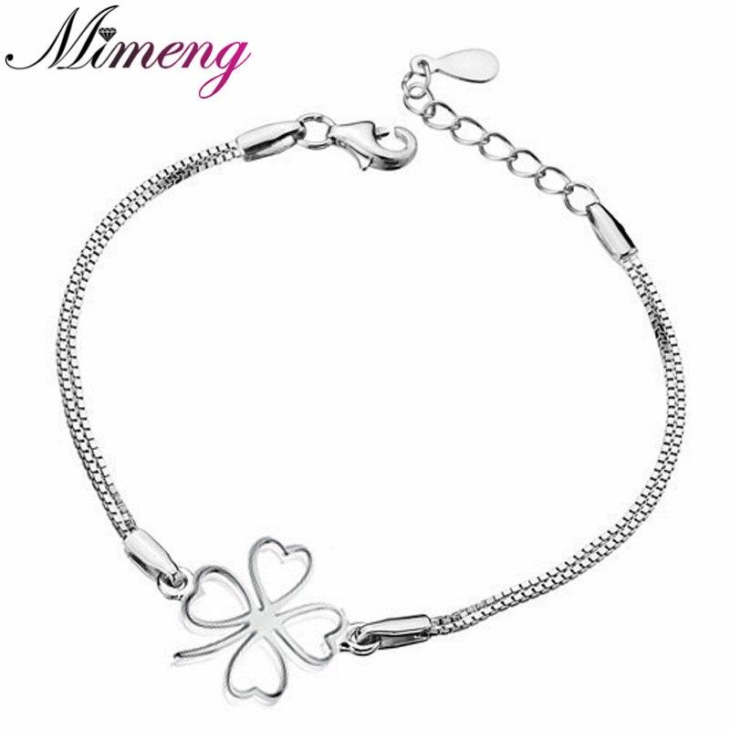 2016 New 100 Sterling Silver 925 Jewelry Lucky grass Bracelet Silver Bracelets Bangles Fine Jewelry Free