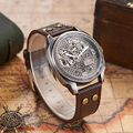 Мужские Винтажные механические часы OUYAWEI  часы с кожаным скелетом  бронзовые часы в ретро-стиле