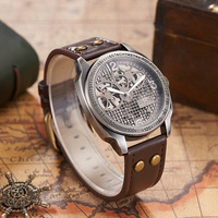 Top Verkoop OUYAWEI Self Wind Vintage Mechanische Lederen Horloge Mannen Skelet Automatische Antiek Brons Retro Horloge montre homme|Mechanische Horloges|Horloges -