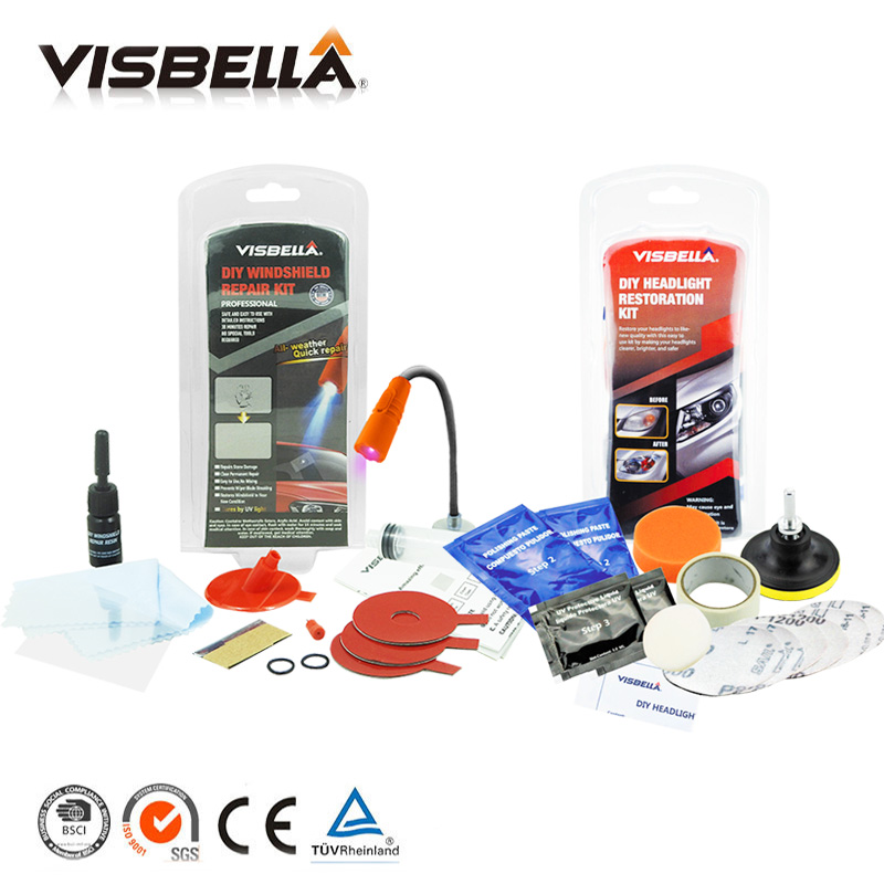 Visbella DIY Windshield Repair Kit with UV Light Windscreen Glass Crack Glue Adhesive and Headlights Restoration Hnad Tool Set