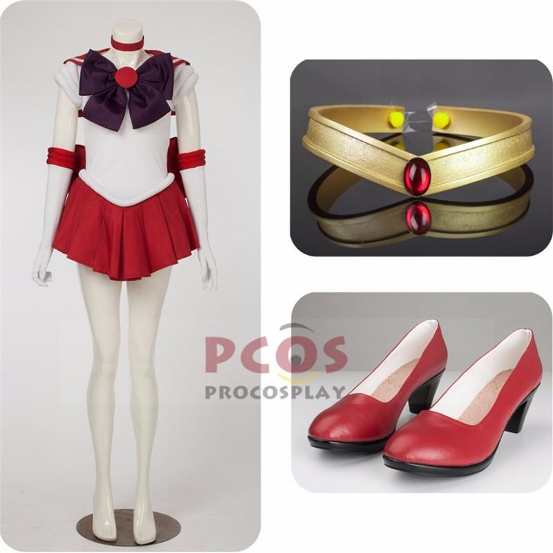 Nejlepší ceny Set ~ Sailor Moon Sailor Mars Hino Rei Cosplay Kostým & Pokrývky hlavy & obuv Mp000570