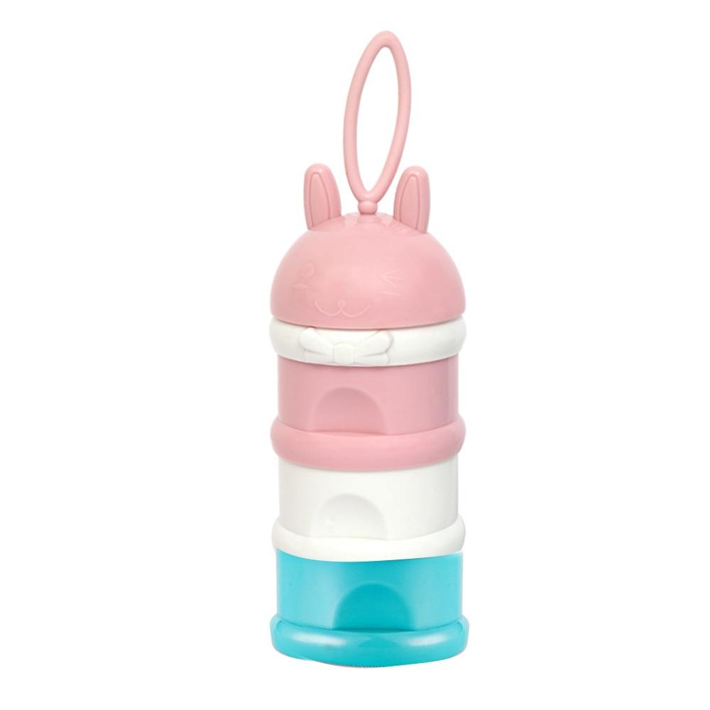 Детская коробка для сухого молока, трехслойный полипропиленовый диспенсер для кормления малыша, милый новорожденный - Цвет: mixed color
