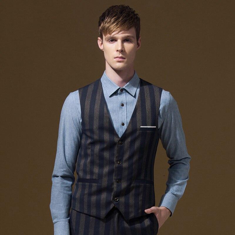 d33977195 ماركة الرجال الدعاوى سترات عالية الجودة رمادي شريطية أزياء الرجل الخريف  الشتاء الربيع حزب الشركة الصدرية الشباب الأزرق جودة عالية xl
