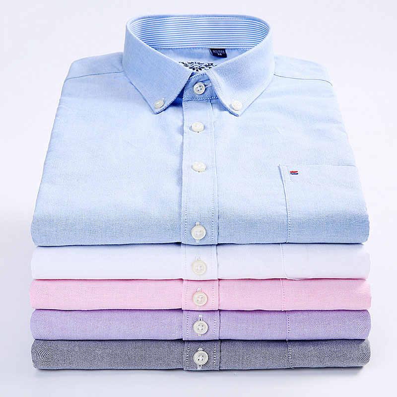 Новинка 2019 года, весенние мужские рубашки в стиле кэжуал, модные, Лоскутные, с воротником, на пуговицах, с длинными рукавами, однотонные, высокого качества, мужские, оксфорды, рубашки