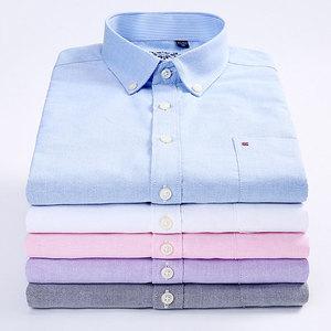 Image 5 - Nuovi uomini Caldi di Casual Camicette di Modo Colletto Button down Regular Fit A Manica Lunga di Colore Solido di Buona Qualità Oxford camicia di vestito