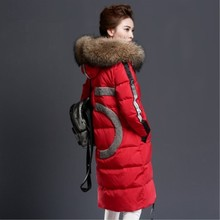 Winter Women' Medium-long Coat Female Thickening Over-the-knee Plus Size Large Fur Collar Outerwear