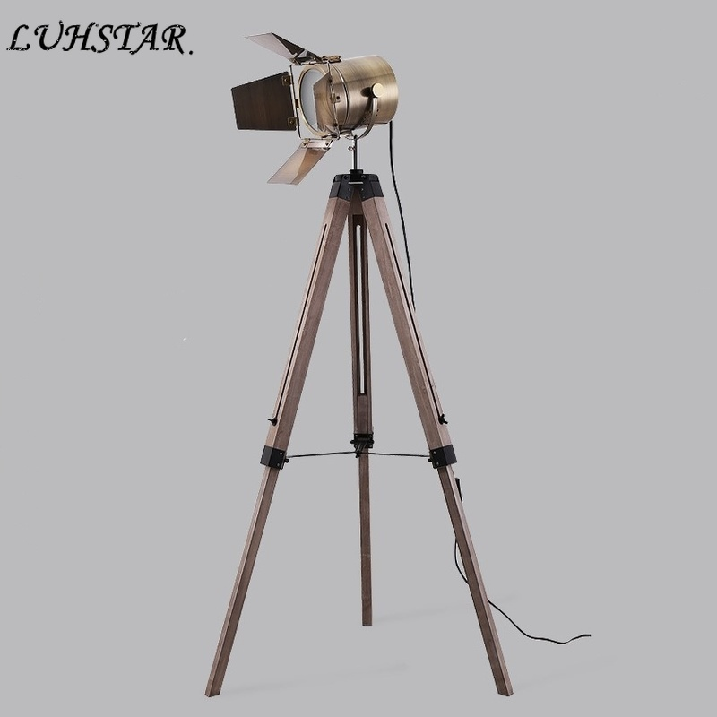American Industrial LOFT Led Stand Light Iron Art Retro Solid Wood Tripod Floor Lamp Free Standing Lamps for Living Room Lamps