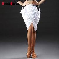 Comfort Latino Dancing Skirts Practice White Red Print Pleated Cheer Skirt Leading Fringed Robes Ballroom Novel
