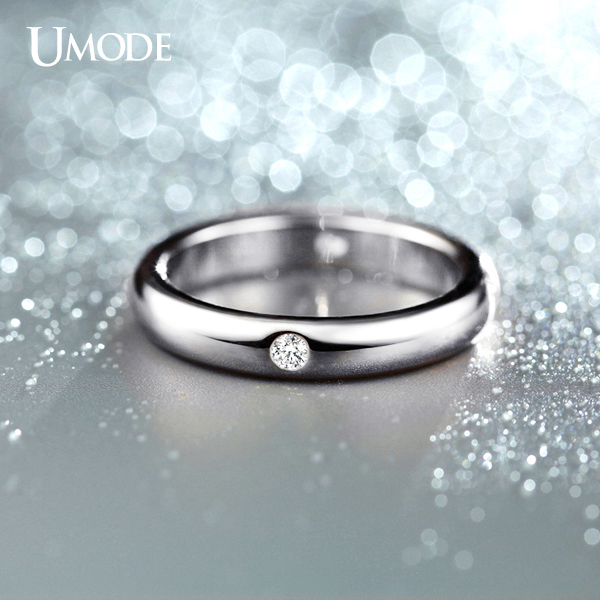 UMODE Bijoux Femme 4pcs AAA CZ Diamond Wedding Bands Rings For Women Fashion Jewelry Wholesale White Gold Plated Ring AJR0139B