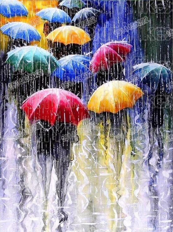 Полная дрель 5D DIY алмазная живопись уличная Алмазная вышивка зонтик Дождь картина Стразы Декор для дома