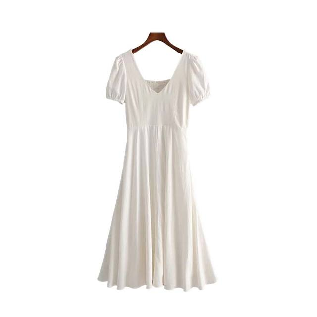 Women White V Neck Linen...