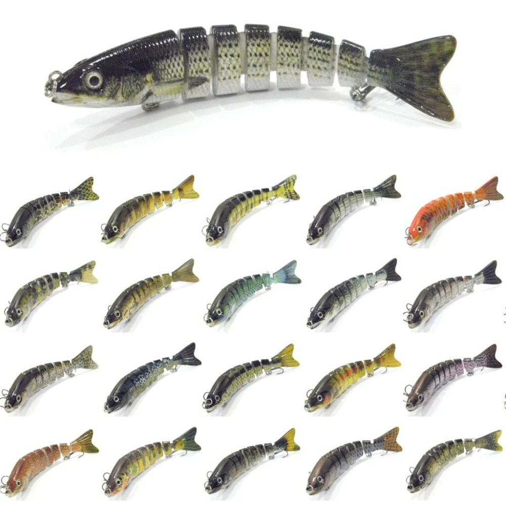 wLure 127mm 19g 8 Segment Swimbait Band Jointed Quality Treble Hooks with Life Like Swimming Actions Slow Sinking HS8S banshee 127mm 21g nexus voodoo atj01 swimbait two sction multi jointed topwater walk dog stickbait floating pencil
