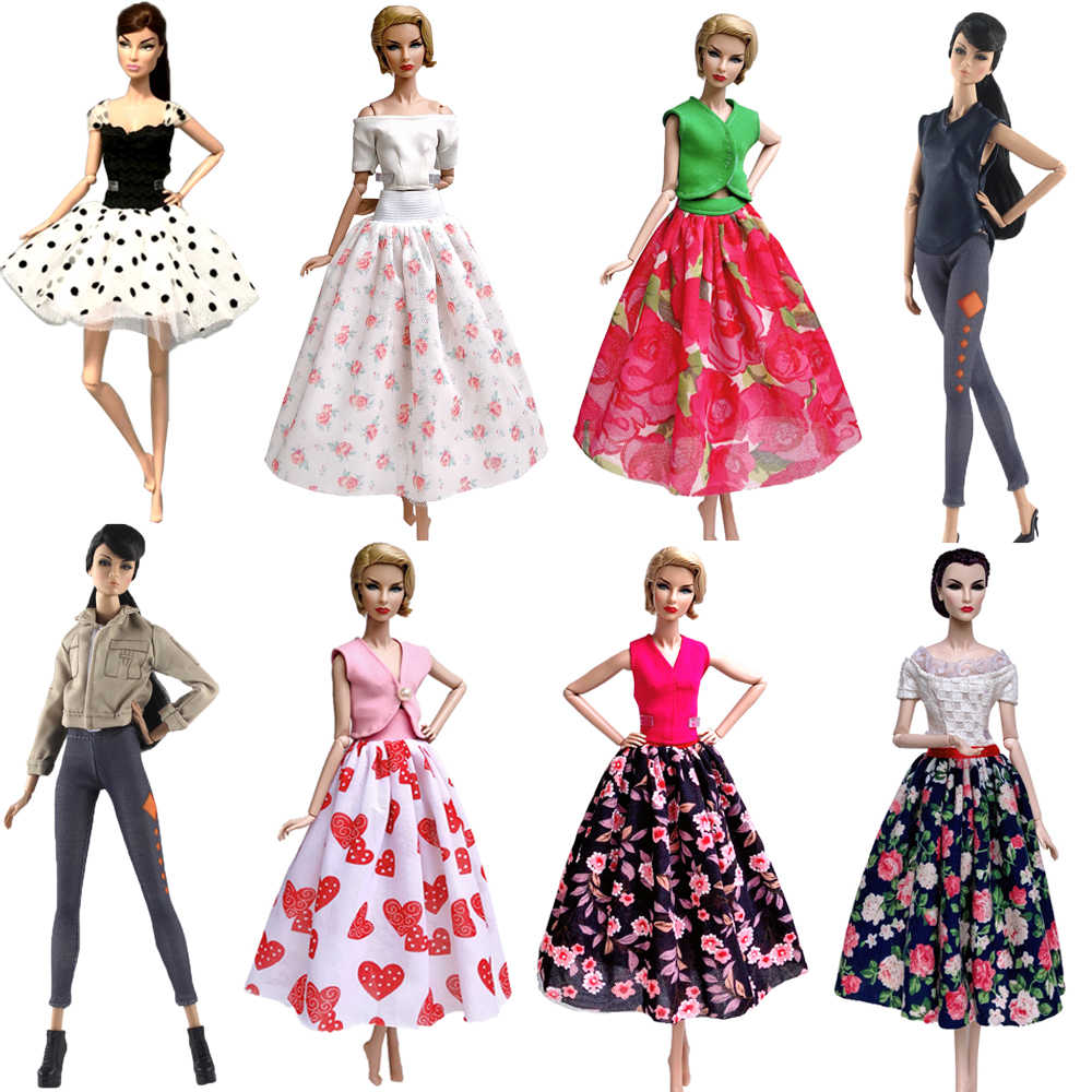 NK Mix Style Doll Outfit Fashion Doll Clothes Dress Leisure Handmade Skirt Party Gown For Barbie Doll Accessories Girl Gift JJ