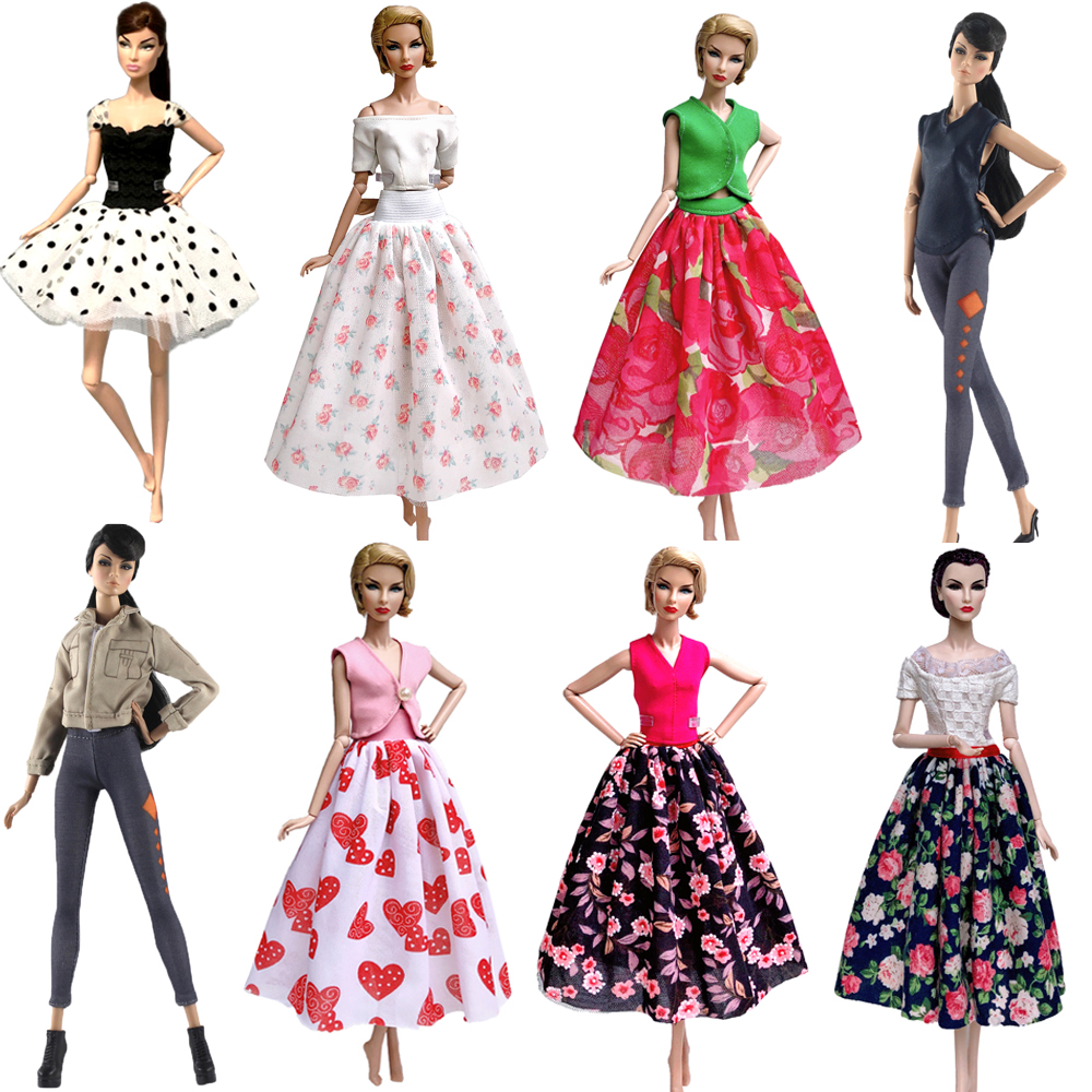 NK 1x Party Doll Dress Top Skirt Clothes For Barbie Doll Accessories Costume Play House Casual Dressing Up Child Toys Gift 07 JJ