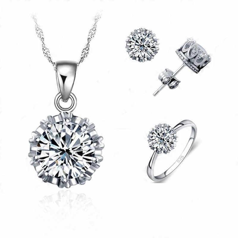 4 Ring Größe Heißer Verkauf Frauen Hochzeit 925 Sterling Silber Schmuck Sets CZ Zirkonia Halskette/Ohrring/ ring Set Großhandel
