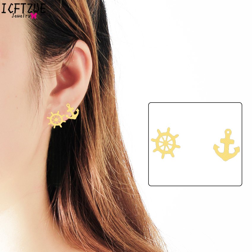Vintage Cool Silver Sailor Wheel Rudder Anchor Earrings Rose Gold Stainless Steel Earring For Women Gold Colour Vintage Jewelry