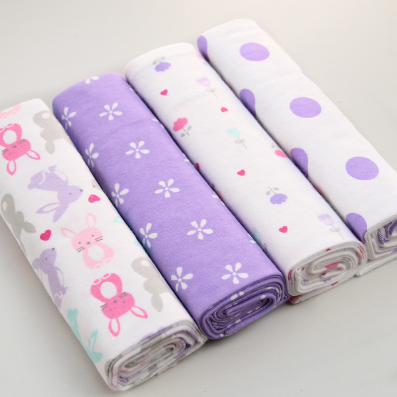 9a4c41e072e6 4pcs pack 100% Cotton Flannel Receiving Baby Blanket Newborn Swaddle ...