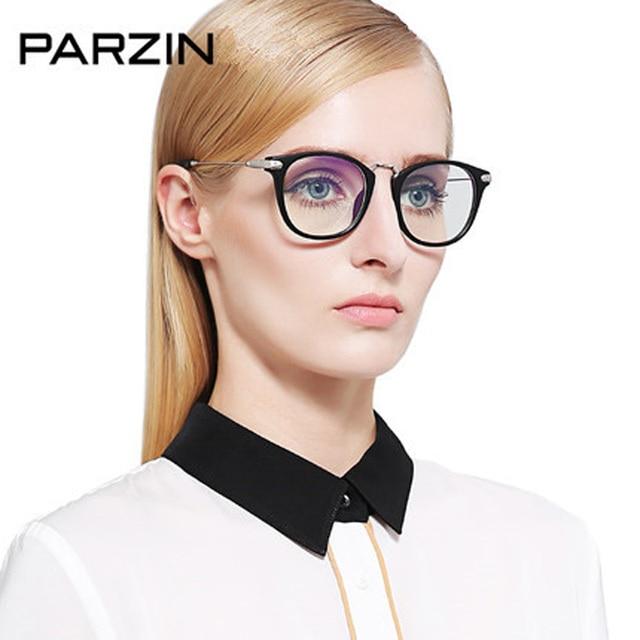 Parzin Anti Blue Rays Glasses Women TR 90 Fashion Female Computer Glasses Vintage Myopia Glasses Frame Eyewear With Case 5025