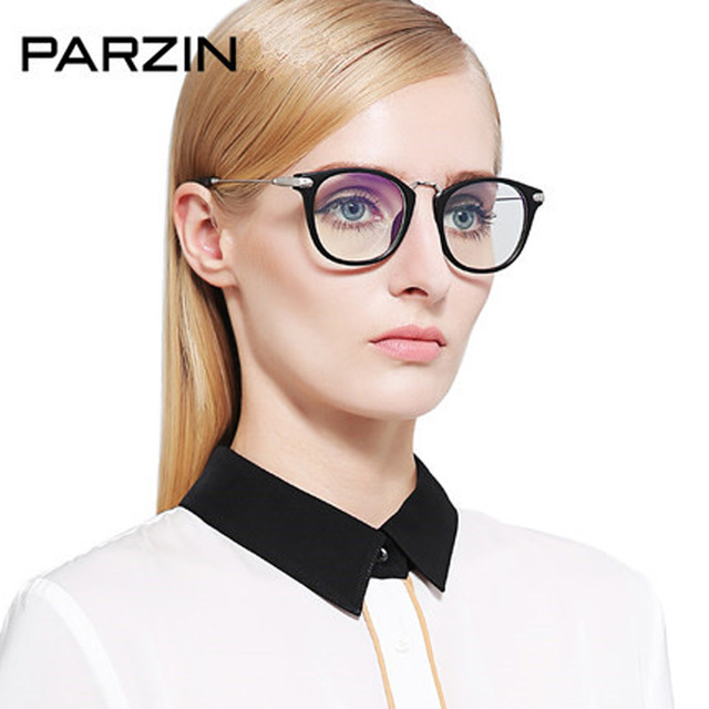Parzin anti óculos de raios azuis mulheres tr 90 óculos de computador de moda feminina do vintage óculos de miopia quadro óculos com caixa 5025