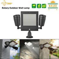 64LED Solar Light Outdoor Sensor Dual Head Solar Security Motion Floodlight Panel Light Lamp