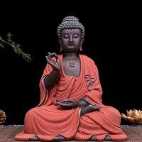 Большой скульптура Будды, Статуя Статуэтка ручной работы фиолетовый песок материал буддизм дома декоративные керамика ремесла отправить д