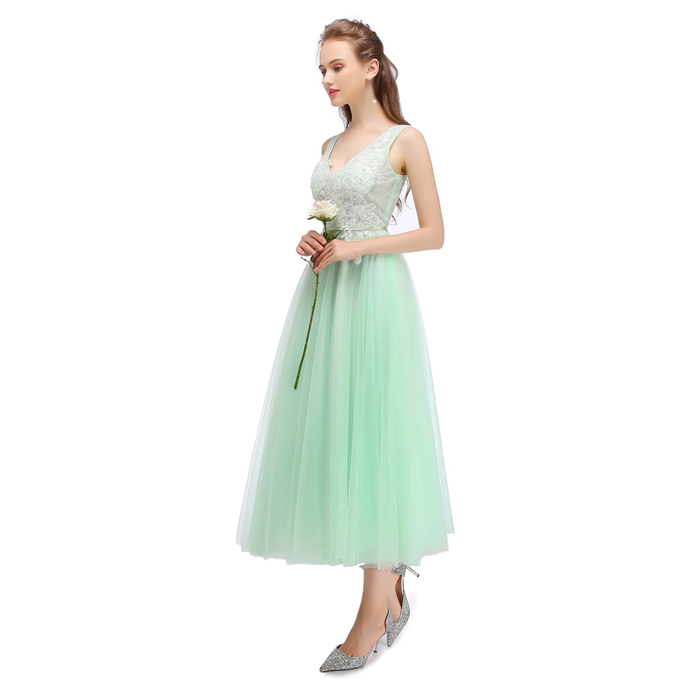 Clearance SSYFashion Sweet Light Green Bridesmaid Dresses V neck Sleeveless  Lae Tea length Banquet Party Gown Graduation Dress-in Bridesmaid Dresses  from ... 38bd1349c278