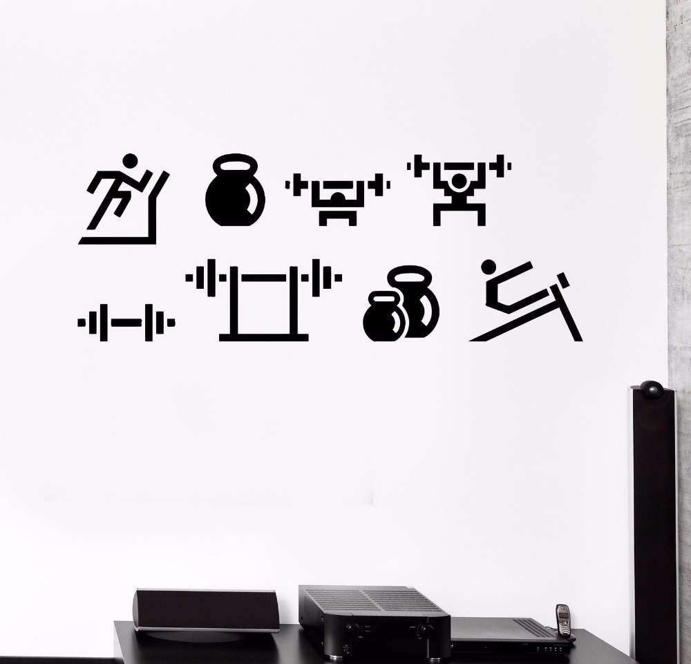 Perfect Quality Vinyl Wall Decal Sports Set Fitness Gym Healthy Lifestyle Art Stickers Home Decoration Living Room Bedroom S092