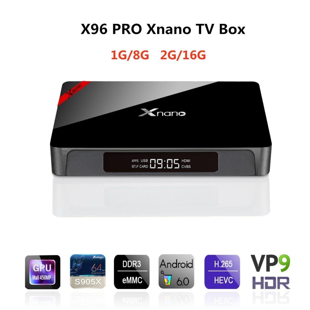 X96 PRO Xnano Android 6,0 ТВ коробка Amlogic S905X четырехъядерный Wifi медиаплеер Bluetooth 4 K HD 2,0 Встроенный OTA комплект верхней коробки