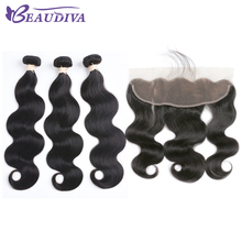 BEAUDIVA Pre-Colored Human Hair Weave Brazilian Body Wave Bundles With Lace Frontal 1B Natural Black Color Free Shipping