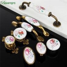 1PCs Vintage Ceramic Knob Metal Retro Handle Pull Button Ceramic Cabinet Knobs Handles China Flower Furniture Hardware Newest