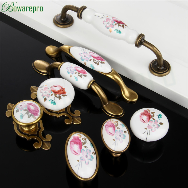 1PCs Vintage Ceramic Knob Metal Retro Handle Pull Button Ceramic Cabinet Knobs Handles China Flower furniture Hardware Newest ...