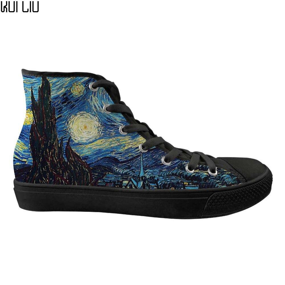 Chaussures vulcanisées pour hommes de mode sur mesure chaussures hautes de nuit étoilée